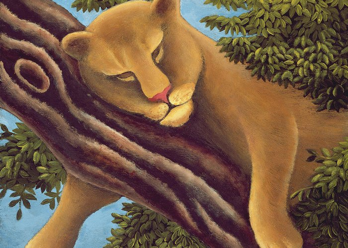 Lion; Branch; Sleeping Greeting Card featuring the painting The Dream by Jerzy Marek