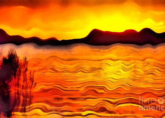 Abstract Greeting Card featuring the painting The Dream Landscape On Balaton Lake by Odon Czintos