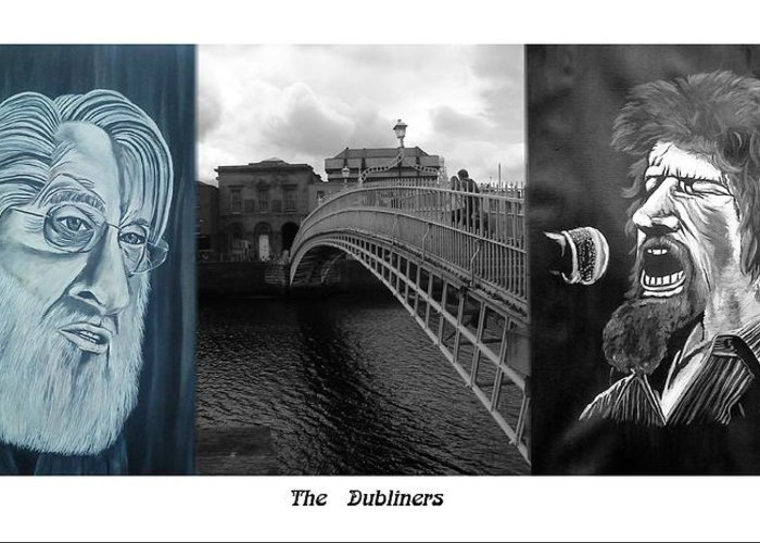 The Dubliners Greeting Card featuring the mixed media The Dubliners by Colin O neill