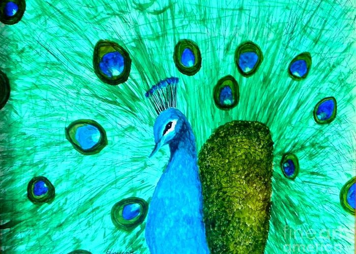 Bird Greeting Card featuring the painting The Dude by Robert ARTSYBOB Havens