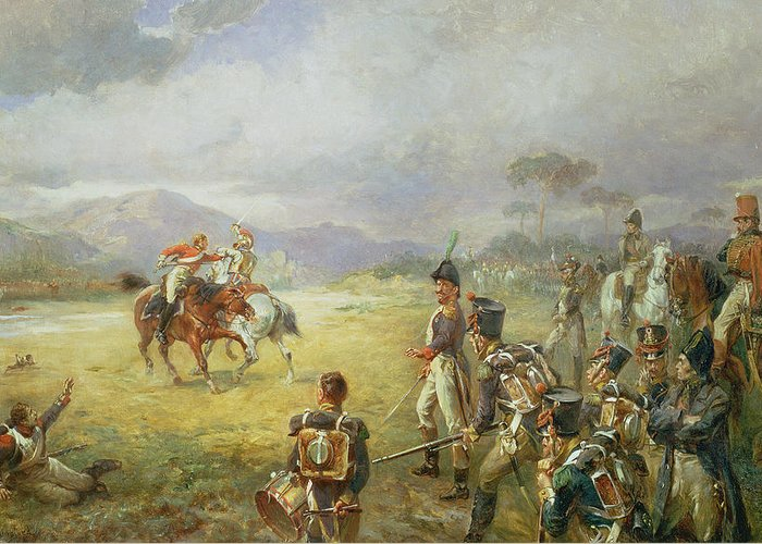 The Duel Greeting Card featuring the painting The Duel Fair Play by Robert Alexander Hillingford