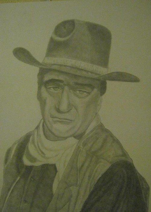 John Whane .rio Lobo Greeting Card featuring the drawing The Duke by Rick Fuller