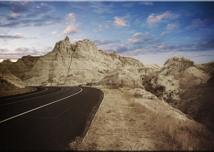 Landscape Greeting Card featuring the photograph The Edge Of The Badlands by Jens Larsen