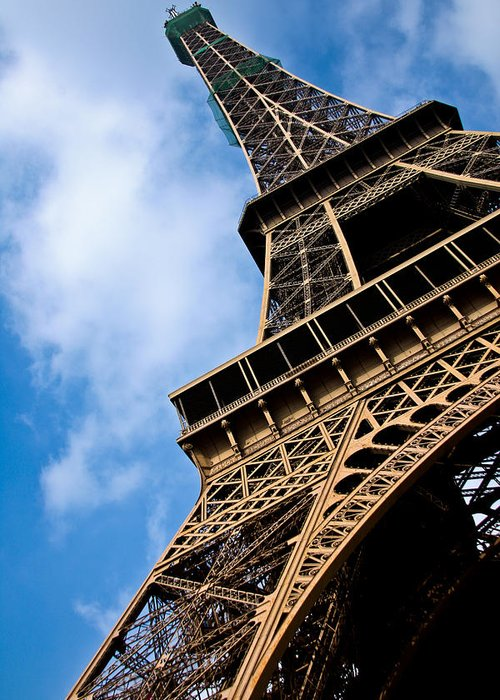 Paris Greeting Card featuring the photograph The Eiffel Tower From Below by Nila Newsom