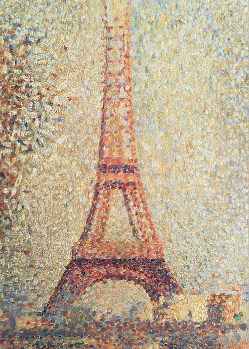 Tour; Pointillist; Neo; Impressionist; Paris Greeting Card featuring the painting The Eiffel Tower by Georges Pierre Seurat