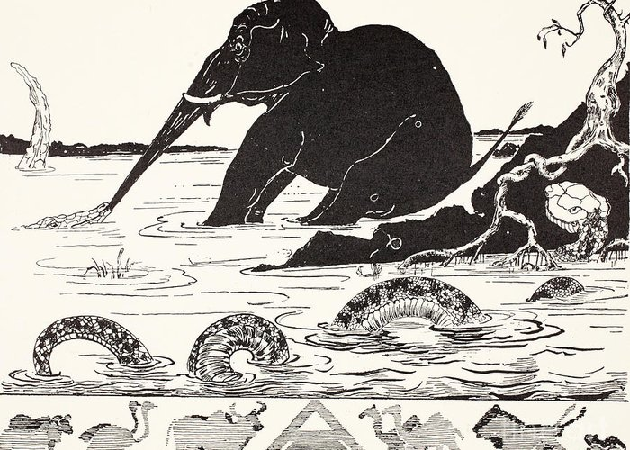 Roots Greeting Card featuring the drawing The Elephant's Child Having His Nose Pulled By The Crocodile by Joseph Rudyard Kipling