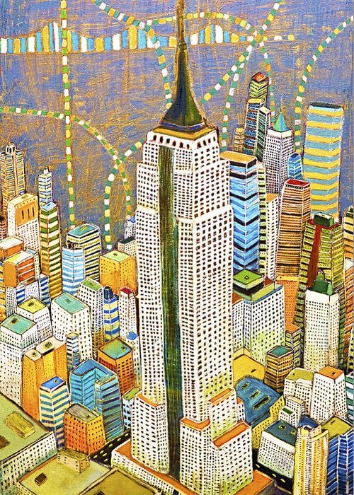 Nyc Greeting Card featuring the painting The Empire of Manhattan by Habib Ayat