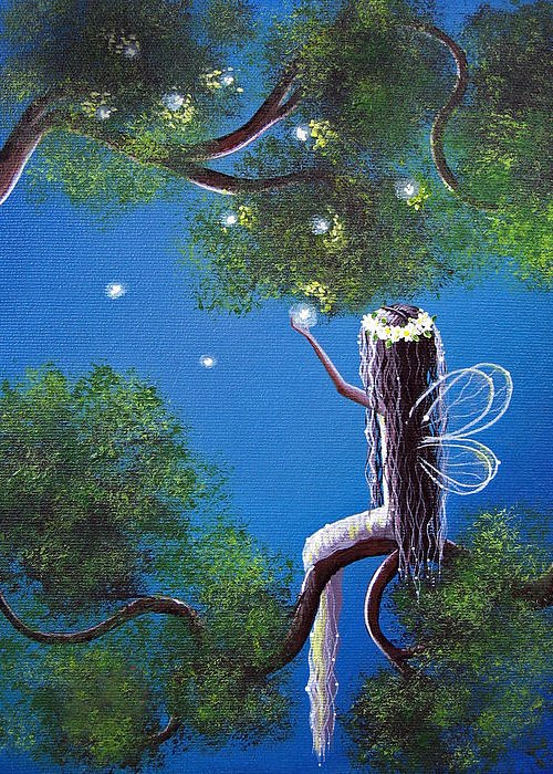 Fairy Greeting Card featuring the painting The Enchanted By Shawna Erback by Shawna Erback