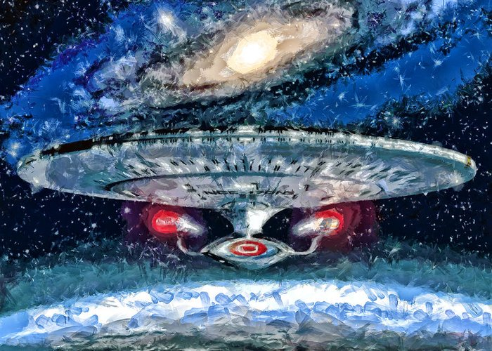 Midnight Streets Greeting Card featuring the painting The Enterprise by Joe Misrasi