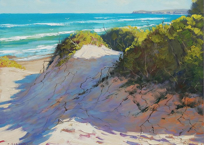 Seascape Greeting Card featuring the painting The Entrance Dunes by Graham Gercken