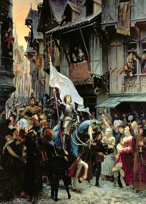 Joan Of Arc Greeting Card featuring the painting The Entrance Of Joan Of Arc Into Orleans by Jean-Jacques Scherrer