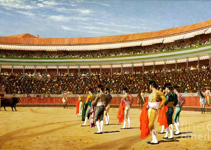 Bullfighting Greeting Card featuring the painting The Entry Of The Bull by Jean Leon Gerome