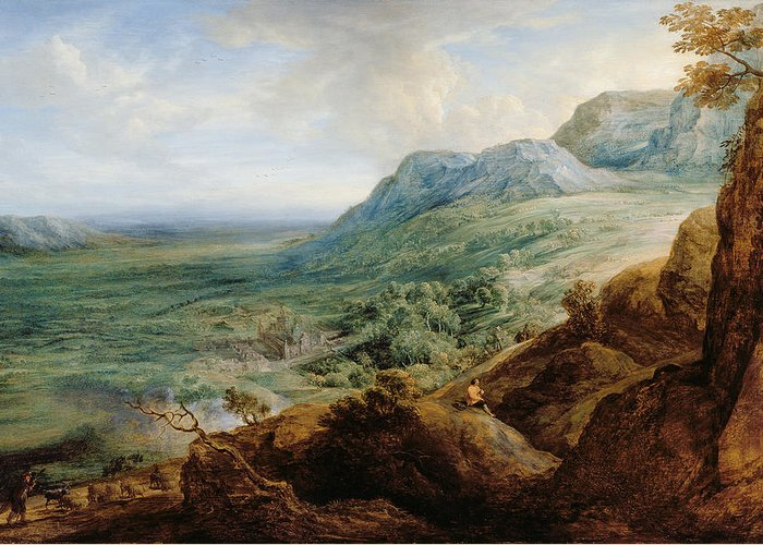 Landscape Greeting Card featuring the painting The Escorial, From A Foothill by Lucas van Uden