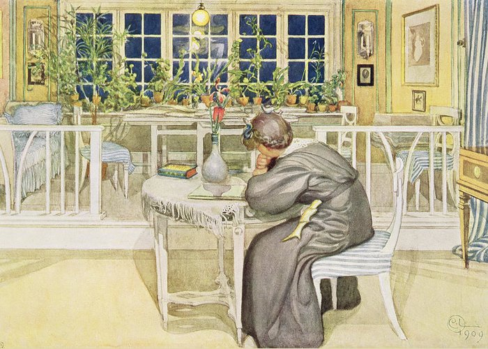Thoughtful Greeting Card featuring the painting The Evening Before The Journey by Carl Larsson