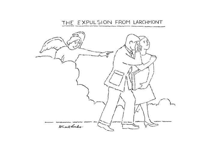 The Expulsion From Larchmont.title.angel Pointing Man And Woman Greeting Card featuring the drawing The Expulsion From Larchmont by Stuart Leeds