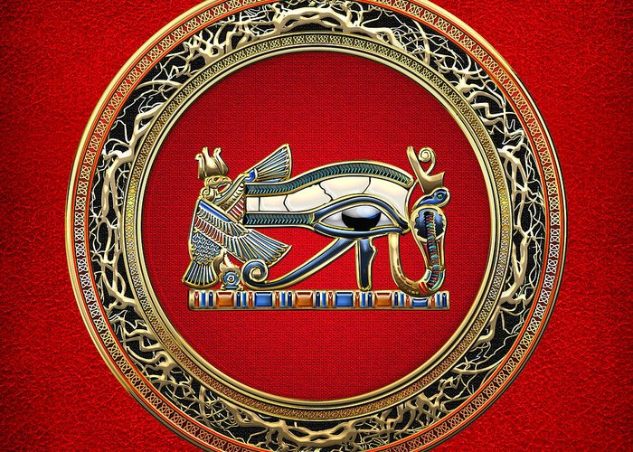 'treasure Trove' Collection By Serge Averbukh Greeting Card featuring the digital art The Eye Of Horus by Serge Averbukh