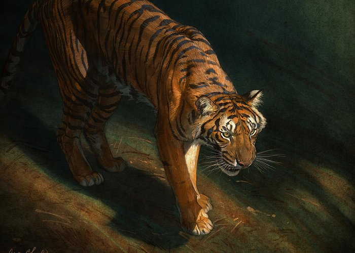 Tiger Greeting Card featuring the digital art The Eye of the Tiger by Aaron Blaise
