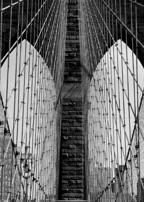 Brooklyn Bridge Greeting Card featuring the photograph The Eyes Of The Bridge by Mark Szep
