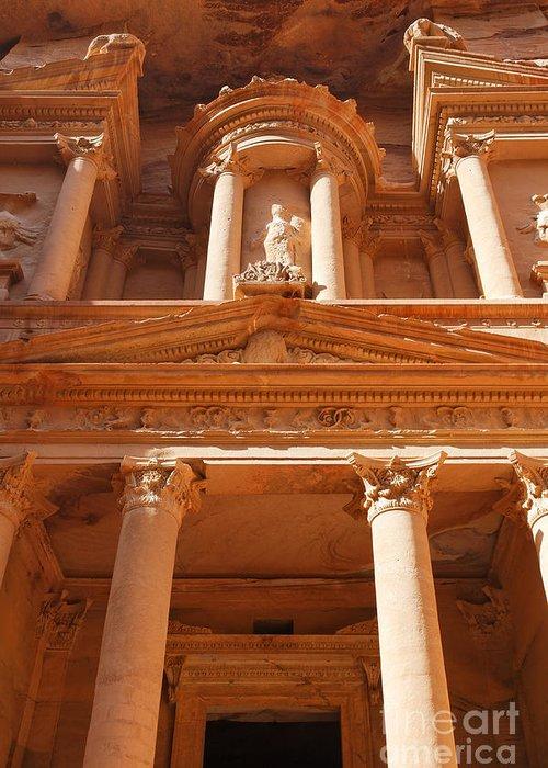 Petra Greeting Card featuring the photograph The Facade Of Al Khazneh In Petra Jordan by Robert Preston
