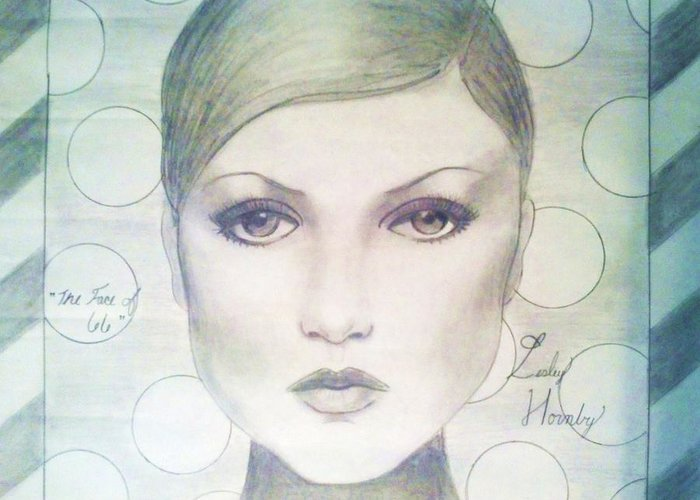 Twiggy Greeting Card featuring the drawing The Face Of 66' by Megan Jenkins