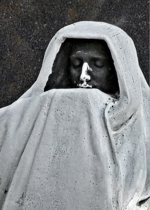 Graveyard Greeting Card featuring the photograph The Face Of Death - Graceland Cemetery Chicago by Christine Till