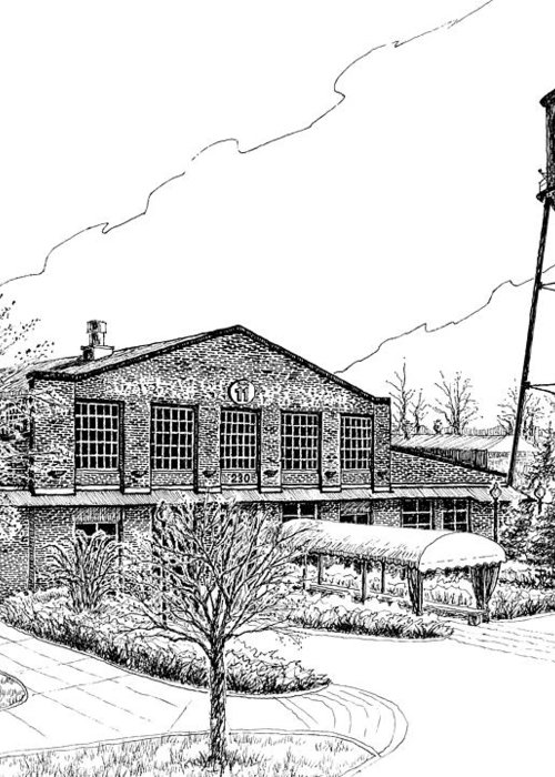 Pen And Ink Drawing Greeting Card featuring the drawing The Factory In Franklin Tennessee by Janet King
