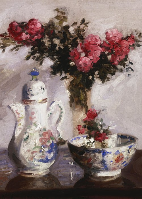 Cadell Greeting Card featuring the painting The Famille Rose Coffee Pot by Francis Campbell Boileau Cadell