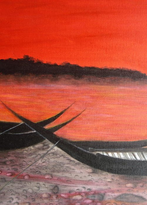 Boats Greeting Card featuring the painting The Farewell Songs Part 1 by Prasenjit Dhar