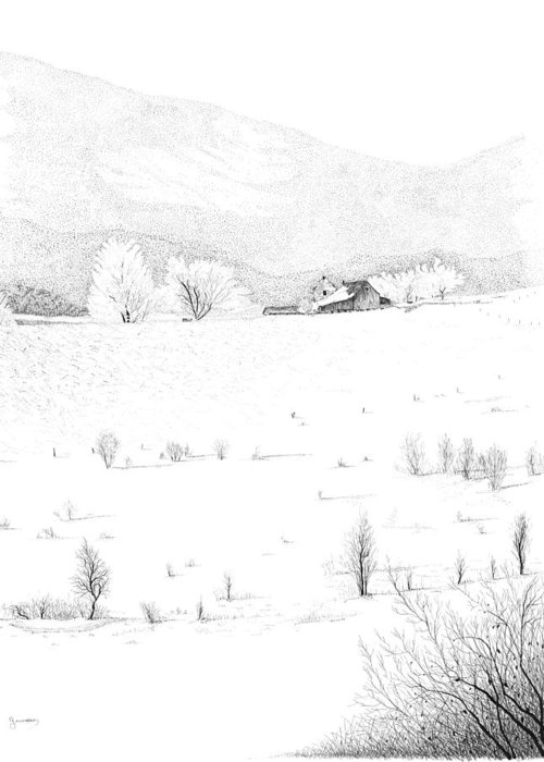 Barn Print Greeting Card featuring the drawing The Farm by Carl Genovese
