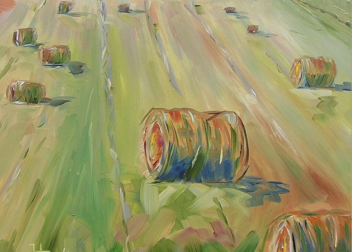 Farm Greeting Card featuring the painting The Farm by Josephine Hardison