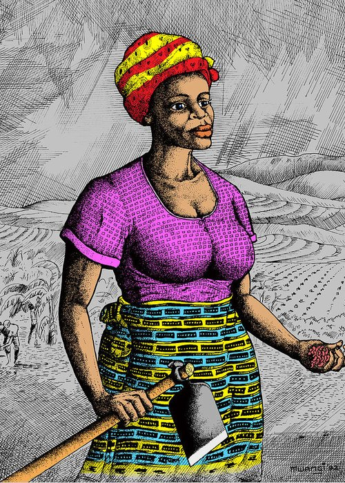 African Heritage Drawings Greeting Cards