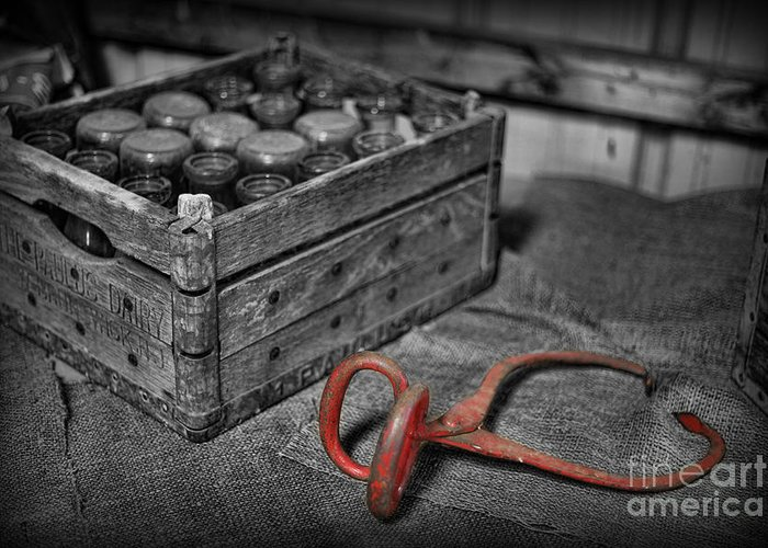 Milk Bottles And Crate Greeting Card featuring the photograph The Farmer's Milk Crate by Lee Dos Santos