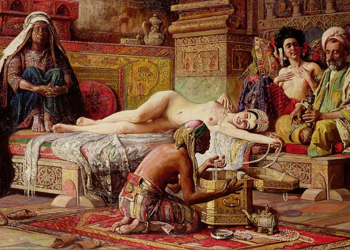 Nude Greeting Card featuring the painting The Favorite Of The Harem by Gyula Tornai