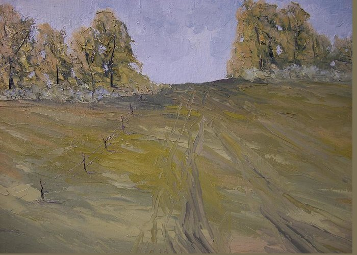 Oil Greeting Card featuring the painting The Fence Row by Dwayne Gresham