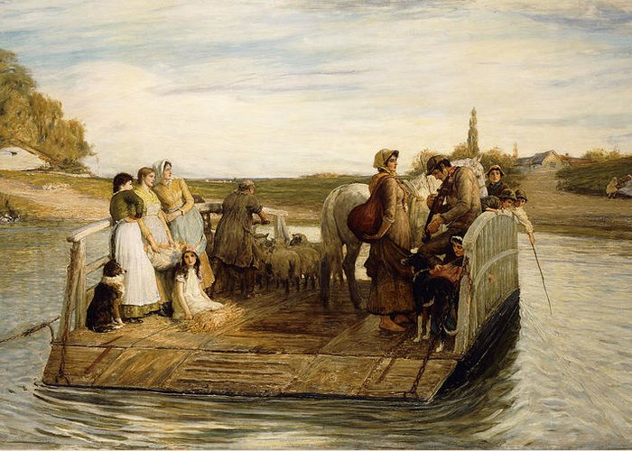 Animal Greeting Card featuring the painting The Ferry by Robert Walker Macbeth