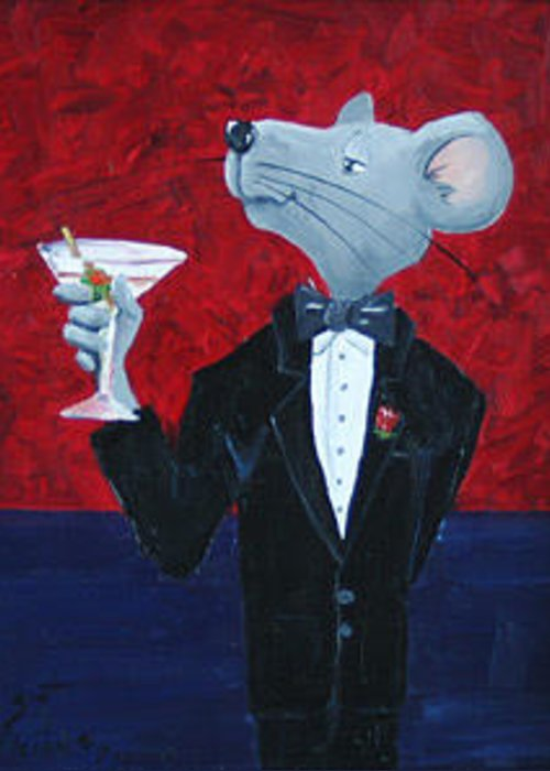 Mouse Greeting Card featuring the painting The Finer Things by Scott Alcorn