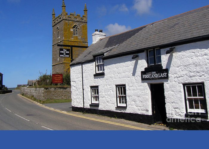Cornwall Greeting Card featuring the photograph The First And Last Inn In England by Terri Waters