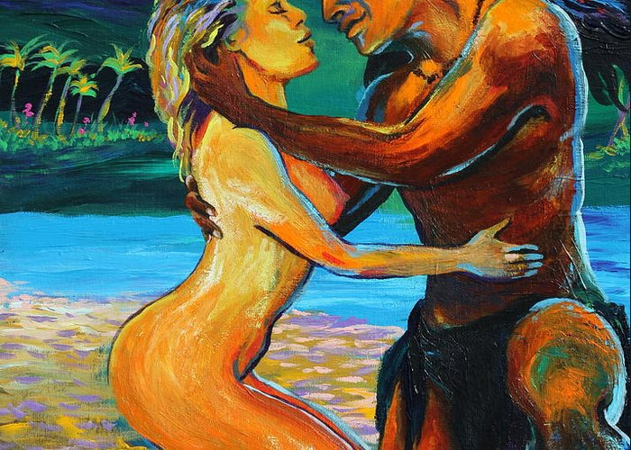 Nude Greeting Card featuring the painting The First Kiss by Karon Melillo DeVega