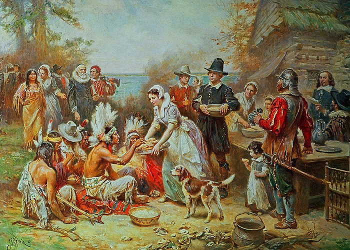 The First Thanksgiving Greeting Card featuring the painting The First Thanksgiving by Jean Leon Gerome Ferris