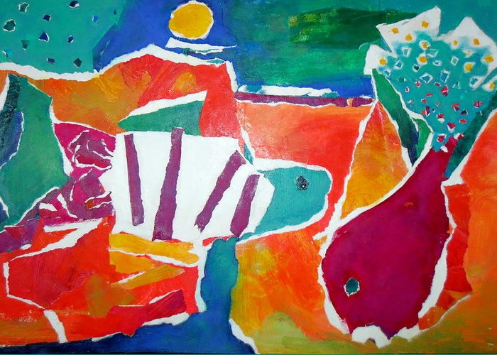 Two Fish Greeting Card featuring the mixed media The Fish In The Sea by Diane Fine