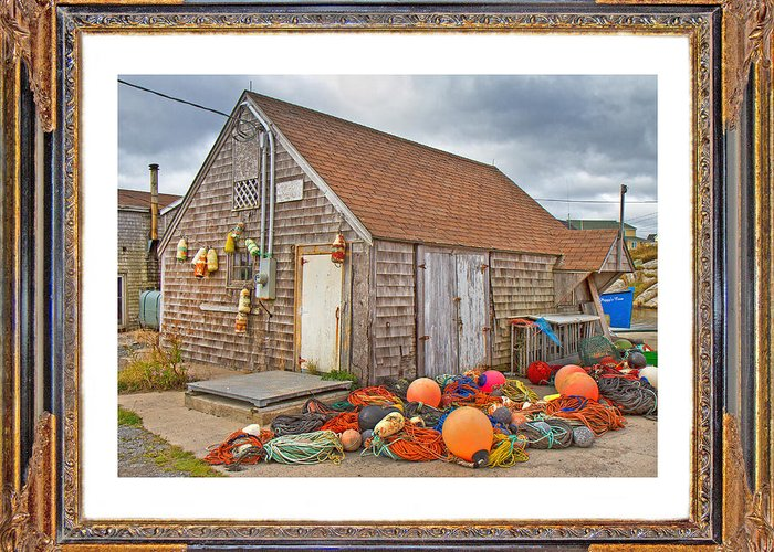 Peggy's Greeting Card featuring the digital art The Fishing Village Scene by Betsy Knapp