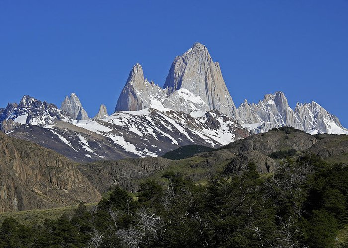 Argentina Greeting Card featuring the photograph The Fitz Roy Range by Michele Burgess
