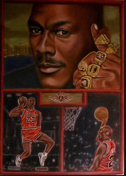 Sports Greeting Card featuring the painting The Flight Instructor Feat Michael Jordan by D Rogale