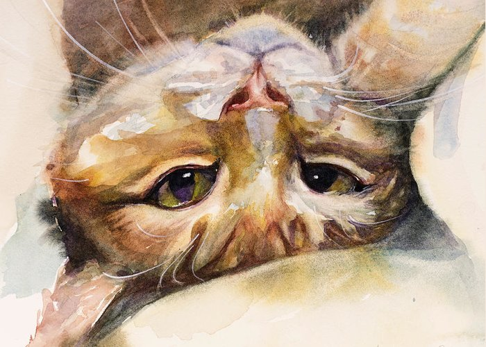 Cat Greeting Card featuring the painting The Flirt by Judith Levins