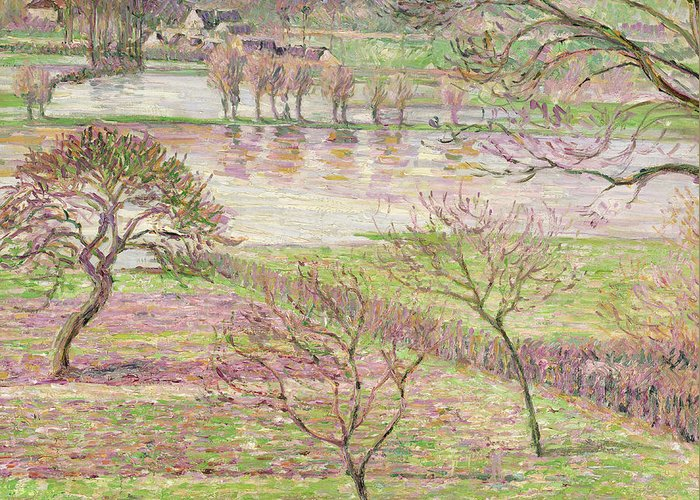 Impressionist Greeting Card featuring the painting The Flood At Eragny by Camille Pissarro