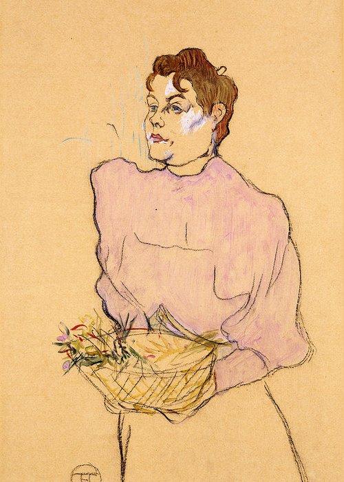 Henri De Toulouse-lautrec Greeting Card featuring the drawing The Flower Seller by Henri de Toulouse-Lautrec