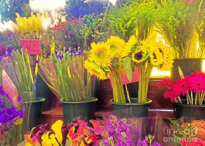 Flowers Color Sunflowers Nature Bloom Female Greeting Card featuring the photograph The Flower Stand by Kristine Nora