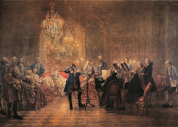 Flute; Concert; Music; Musical; Evening; Performance; Musician; Musicians; Instrument; Instruments; Flutes; Flautist; Piano; Pianist; Violin; Violins; Violinist; Cello; Cellist; Strings; Interior; Grand; Grandiose; Private; Intimate; Candlelit; Candlelight; Candles; Chandelier; Chandeliers; Audience; Seated; Standing; Traditional; Dress; Costume; Music Greeting Card featuring the painting The Flute Concert by Adolph Friedrich Erdmann von Menzel