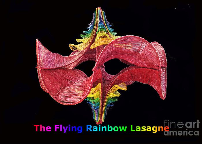 Chakra Greeting Card featuring the sculpture The Flying Rainbow Lasagne by Nofirstname Aurora