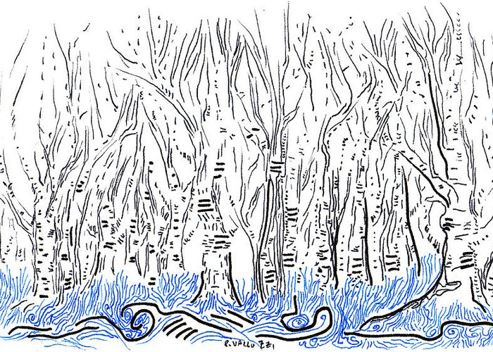 Art Card Greeting Card featuring the drawing The Forest For The Trees An Aceo by Regina Valluzzi